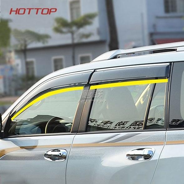 Pare-soleil de porte pour Toyota Prado 150 Land cruiser 2015 2016 noir pare-soleil pare-pluie déflecteurs de fenêtre latérale 2010-2018 - 2