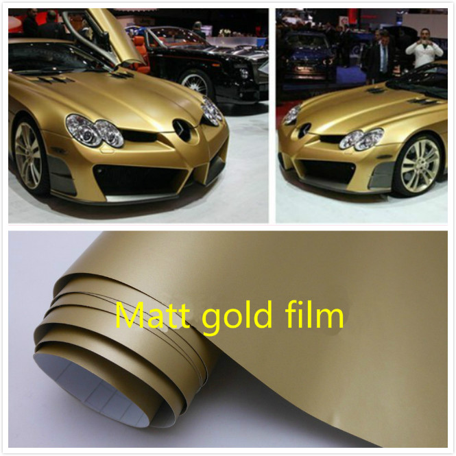 600mm x 1520mm Matte Matt gold Vinyl Wrap Self Adhesive Air Release Bubble Free Car Styling Membrane Sticker Decal Film