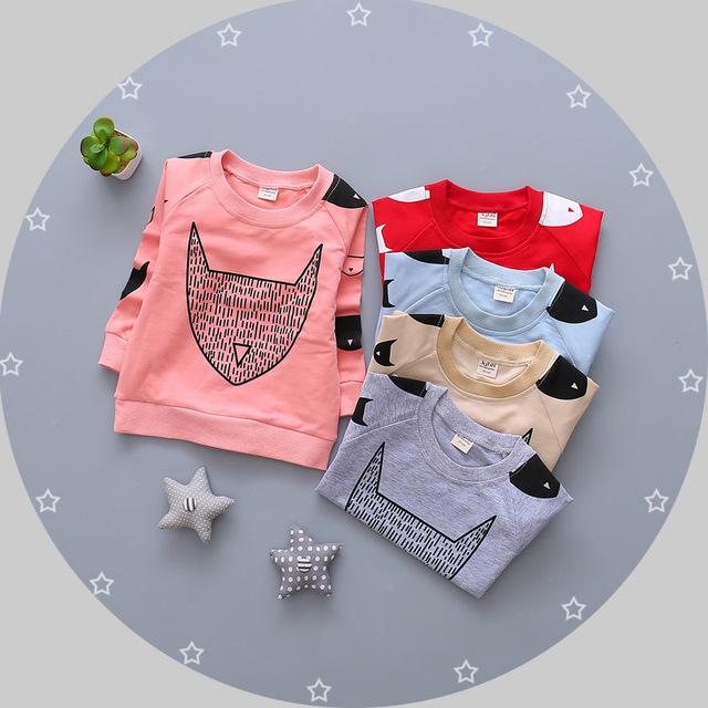NUEVA primavera INS bate de impresión de los niños Suéter Del Bebé Del Algodón de la manga completa T-shirt de la muchacha del encabeza cinco color de dibujos animados de ropa