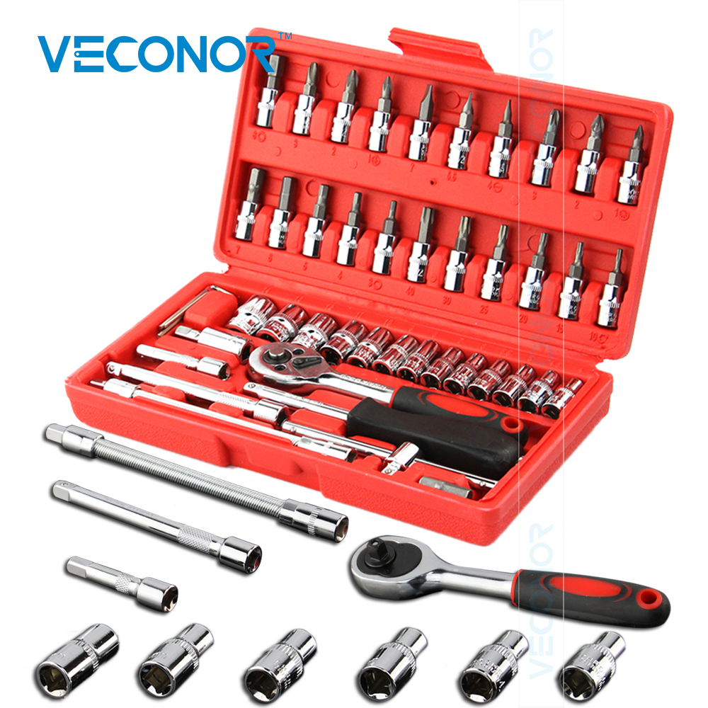 Veconor 46pc High Quality Socket Set Car Repair Tool Ratchet Set Torque Wrench Combination Bit a set of keys Chrome Vanadium car repair tool 46 unids mx demel 1 4 inch socket car repair set ratchet tool torque wrench tools combo car repair tool kit set