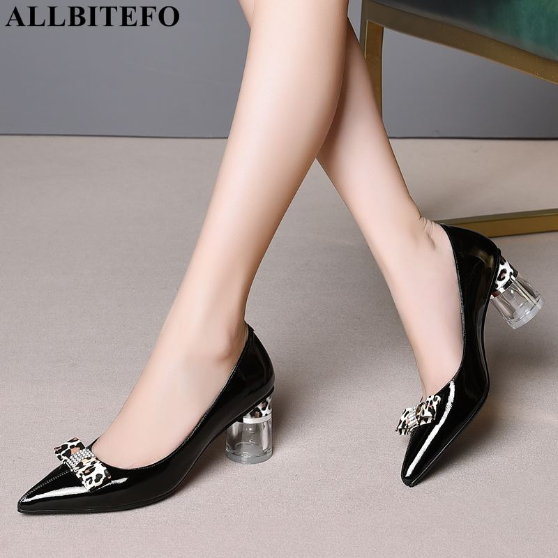 ALLBITEFO New Spring Full Genuine Leather High Heels Women Shoes Fashion Bowtie Office Ladies Shoes Women High Heel Shoes