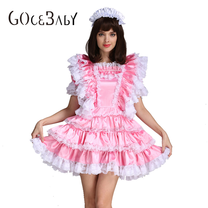 Sissy Fille Satin Femme De Chambre Rose Verrouillable Robe Costume Uniforme Crossdressing Cosplay Costume
