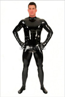 Men's Latex Catsuit Rubber Fetish Bodysuit with Socks and Gloves Open Crotch Zipper Plus Size