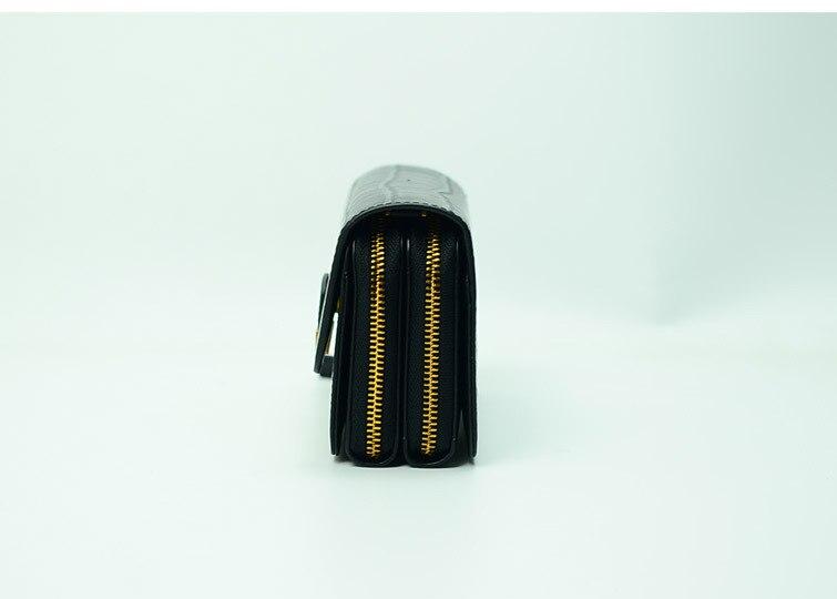 Sac à main double fermeture éclair en cuir véritable crocodile rectangle femmes-in Portefeuilles from Baggages et sacs    3