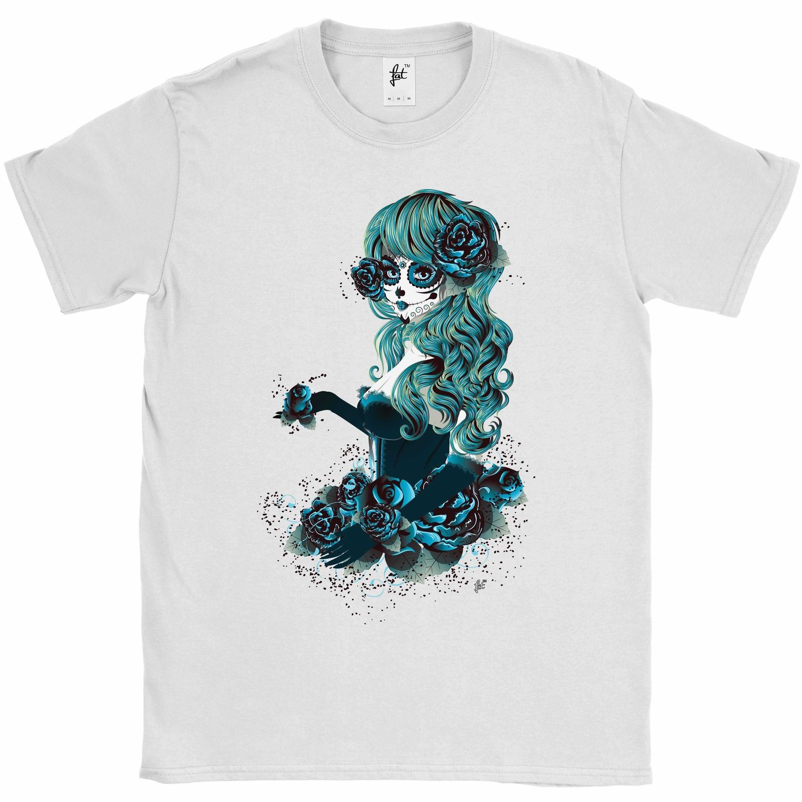 Day Of The Dead Sugar Skull Woman With Long Hair Mens T-Shirt