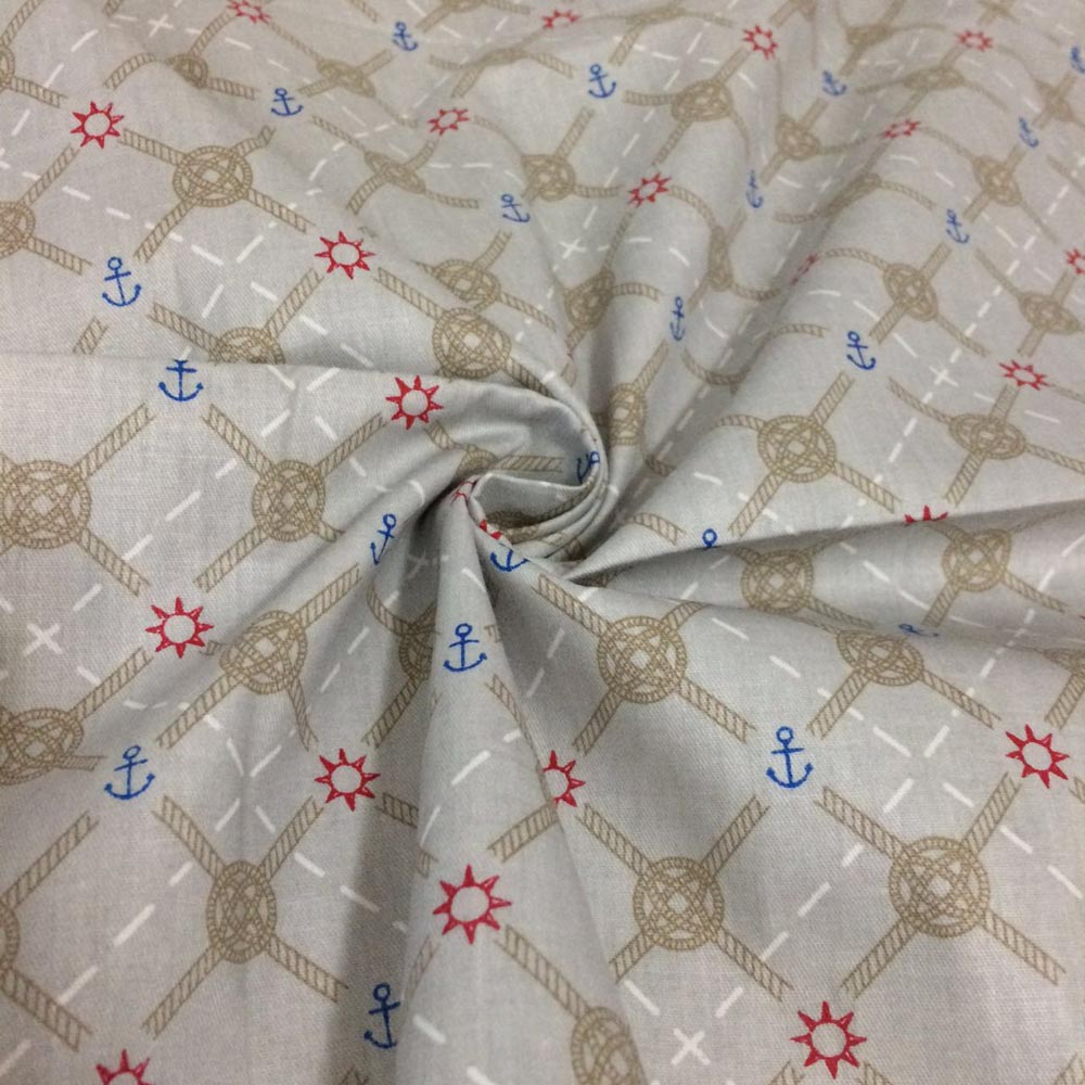 100 cotton twill marine style anchor log fabrics for for Fabrics for children s curtains