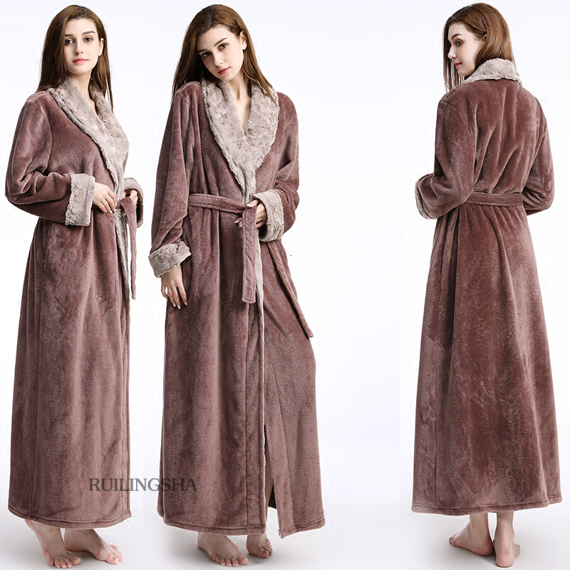 2589ad7a5d4c Men Women fur Neck Thick Flannel Warm Long Bathrobe Male Winter Kimono Bath  Robe Mens Dressing Gown Fleece Thermal Nightgowns-in Robes from Underwear  ...