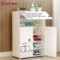 COSTWAY 6 Layer DIY Portable Simple Folding Shoes Rack Shoe Cabinets Shoes Organizer Assembled Resin Storage Furniture W0299