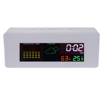 Bedside Desk Color Display Digital Weather Forecast Station W Alarm Clock