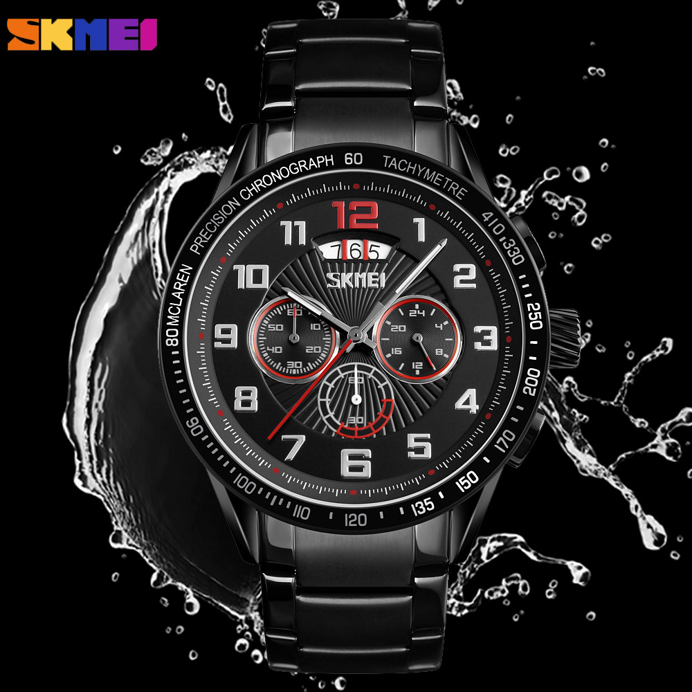 SKMEI Luxury Waterproof Quartz Men's Watches Luxury Sport Stopwatch Clock Stainless Steel Male Wristwatches Relogio Masculino