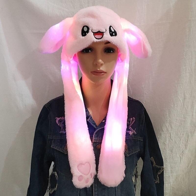 2019 Neue Mode Beweglichen Hut Glowing Kaninchen Ohren Plüsch Hut Süße Nette Airbag Kappe Für Mädchen 2 Farben