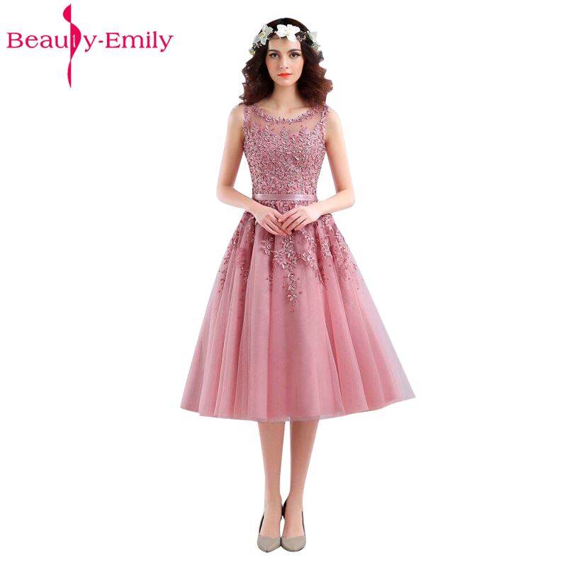 Beauty Emily Short Pink Beads Party   Evening     Dresses   2018 A Line Zipper Sleeveless O-Neck Formal Occasion Party Prom   Dresses