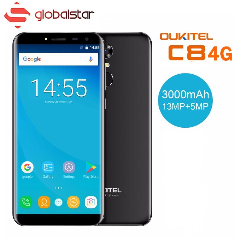 Oukitel C8 4G téléphone portable 5.5 18:9 Écran MTK6580A Quad Core Smartphone 2 GB RAM 16 GB ROM 3000 mAh Android 7.0 D'empreintes Digitales Téléphone