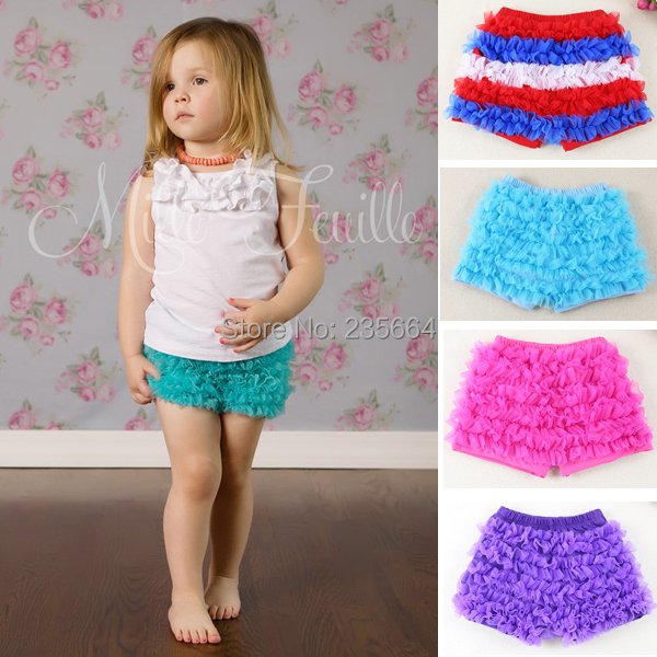 New Arrival Baby Girls Ruffle Petti Chiffon Legging Infant Short Harem Shorts Free Shipping ruffle hem solid shorts
