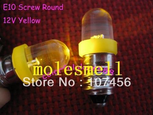 Free Shipping 10pcs Yellow E10 12V Led Bulb Light Lamp For LIONEL 1447