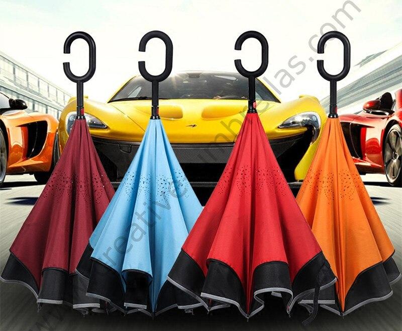 2 pcs/lot 98 cm 2-3people c-crochet réfléchissant néon coupe-vent auto-défense inverse voiture parapluie Double couche inversé support parasol