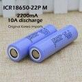 6 PCS. original para samsung icr18650-22p 18650 bateria de 2200 mah, 5C bateria, 10A Atual. e-cigarro dedicado