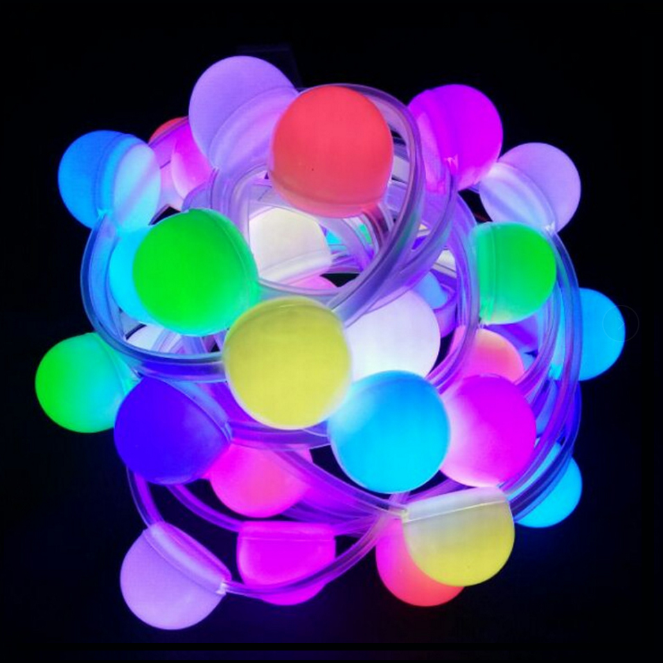 DC12V WS2811 Addressable IC RGB Smart Pixel Ball 40mm Diameter Led Strip IP67 Waterproof 10Pixels/m(Each 3Leds In One Cover)