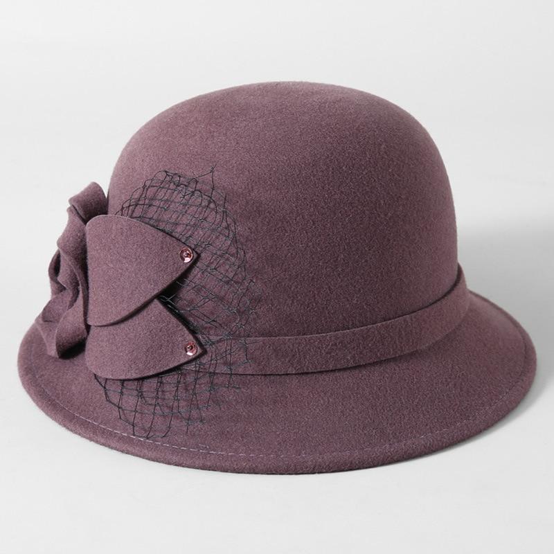6ae66a7968bd5 Beckyruiwu Women Winter 100% Wool Felt Hats Lady Party Formal Restore Flower  Woolen Fedora Hat