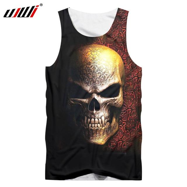 UJWI Casual Tank Top imprimir cráneo del Metal 3D Singlet hombre verano sin  mangas fresco chaleco bd36820cebdaf