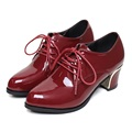 2017 Small Size 31-40 Patent Leather Wine Red Lace-up High Heels Women Pumps Ladies Shoes Woman Chaussure Femme 32 33 34 Black
