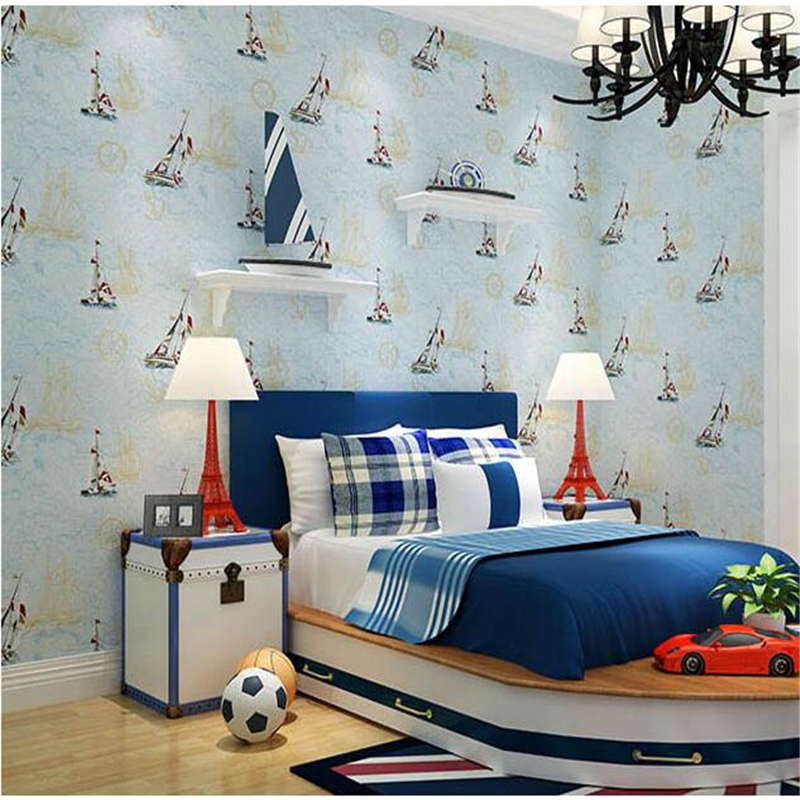 beibehang Mediterranean style green children's room wallpaper boy girl bedroom blue sky cartoon sailboat non-woven wallpaper beibehang environmental non woven boy girl warm cartoon children s room blue sky clouds balloon wallpaper