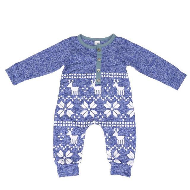 6fc29a0001d3 2017 Winter Newborn Baby Boys Girls Deer Snowflake Print Romper One ...