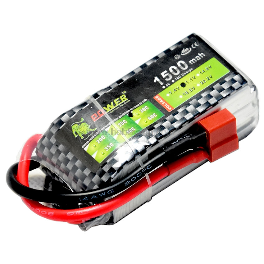 11.1V/<font><b>3S</b></font> <font><b>1500mAh</b></font> 30C <font><b>LiPO</b></font> Battery T-plug Burst <font><b>60C</b></font> RC model Lipolymer power image