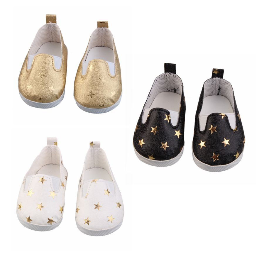 Doll Shoes For 43 Cm New Born Babe Doll Black White Gold Star Shoes For 18