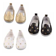 "Doll shoes for 43 cm New Born Babe Doll Black White Gold Star Shoes For 18"" Girls Sport Boots Doll Accessories Toy Accessories(China)"