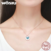 WOSTU Authentic 925 Sterling Silver Rose Gold Exquisite Heart Pendant Necklaces For Women Luxury Jewelry Bijoux