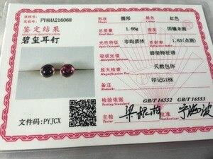 Image 5 - Серьги из розового золота Natutal rubellite, круглые 6 мм * 6 мм, розовое золото 18 карат, огранка кабошоном, красивый цвет