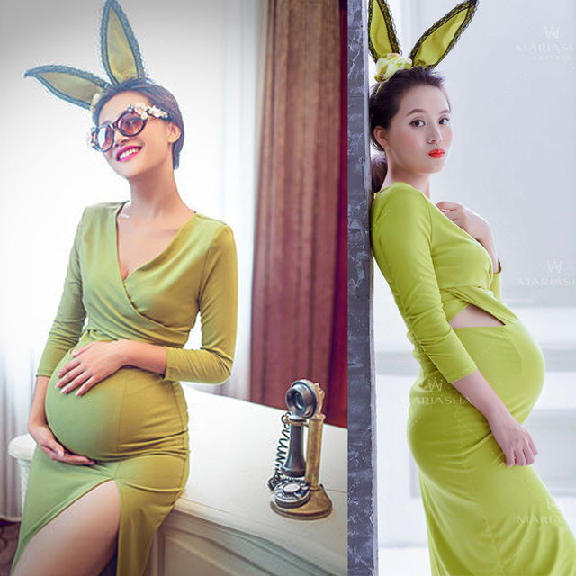 Green Festa Longo Pregnant  Maternity Photography Sleeves V-neck Maternity Photography Props Sweety Rabbit Ear Gestantes Vestido