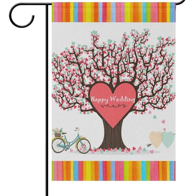 Wedding Just Married Garden Yard Flag Tree Of Hearts Love Bike House Banners Mr Mrs