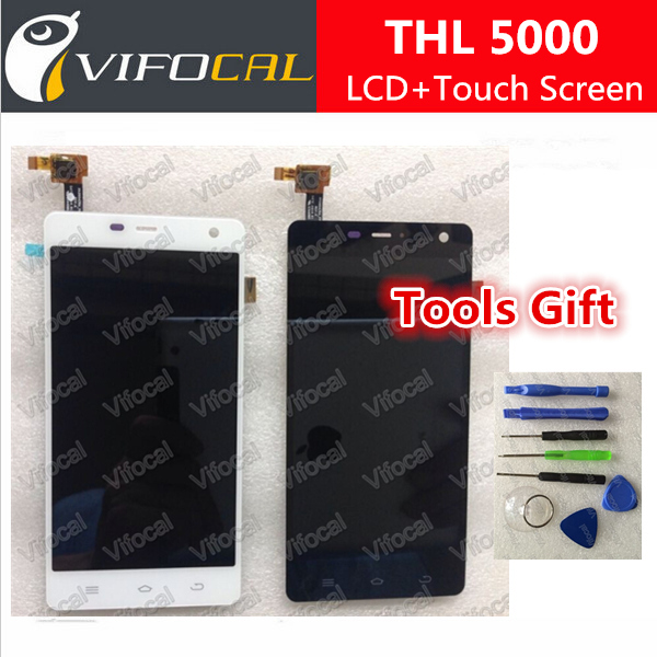 THL 5000 LCD Display + Touch screen + Free Torx Set Tools 100% Original Assembly Replacement for 5 Mobile Phone - White