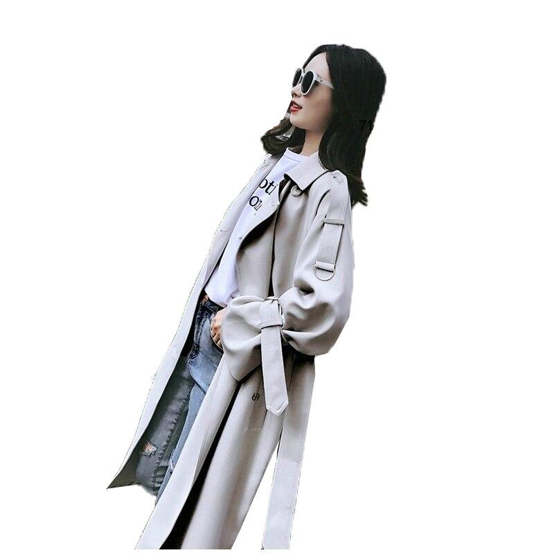 Sauvage Ami Occasionnel vent Long Lâche Printemps Femmes coréen Nouvelle 2018 Outercoat Meter Garçon Gray Coupe Boutonnage Tranchée Double Manteau À De Pn08Zdzqxw