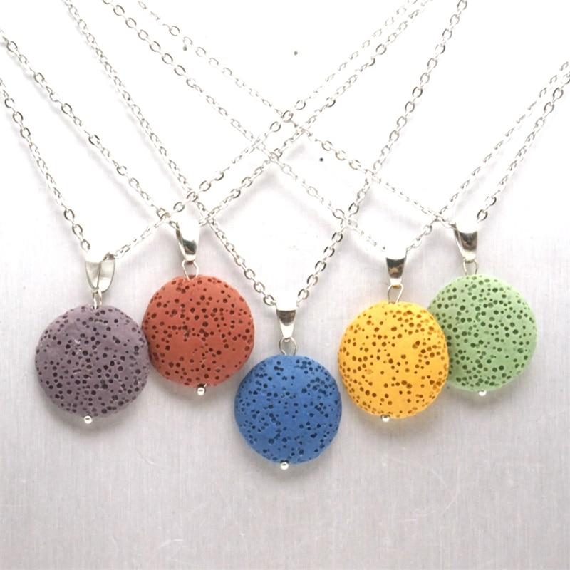 10 Colorful Round Lava Stone Essential Oil Diffuser Necklace