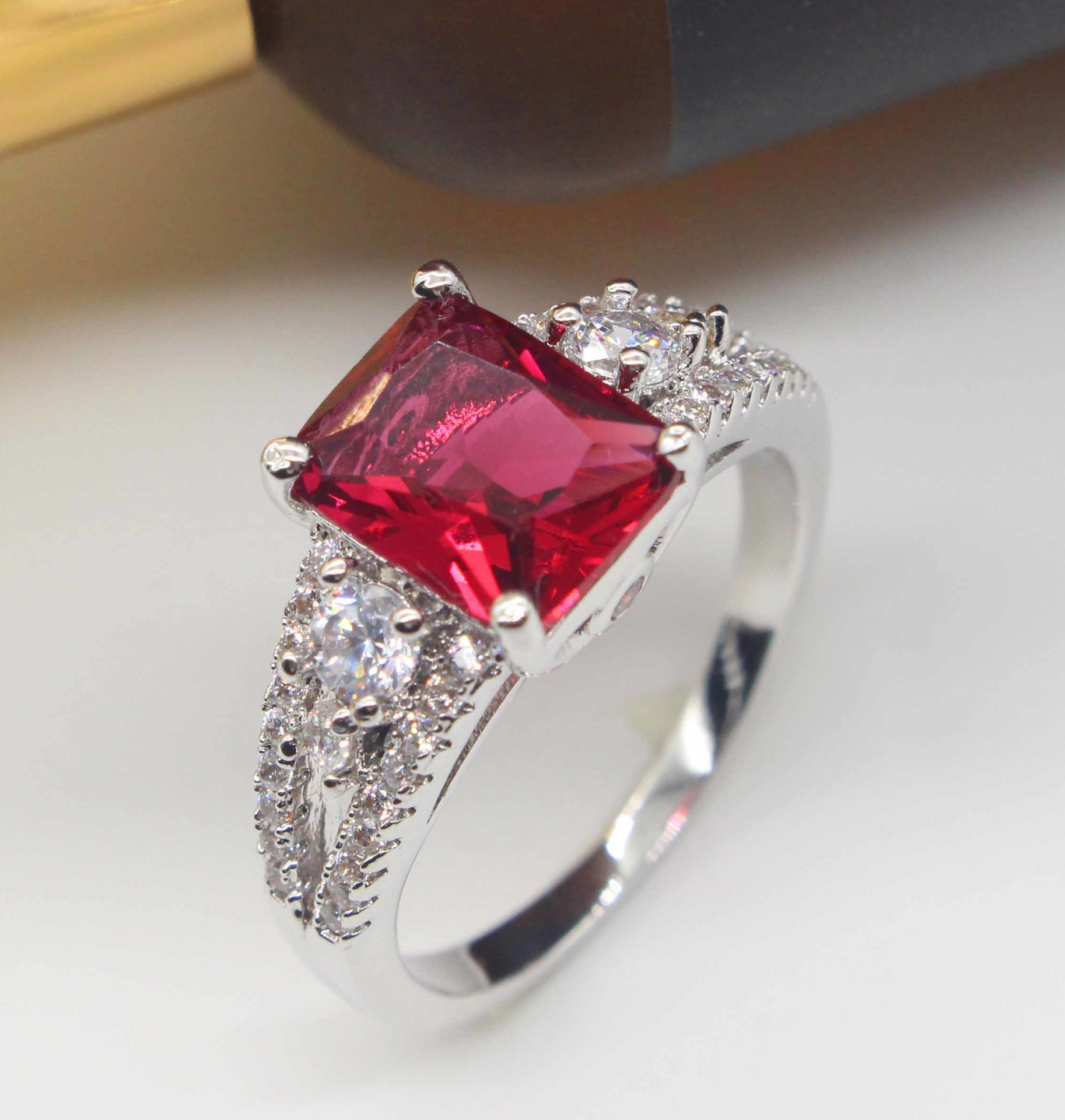 fashion italian 925 sterling silver wedding rings for women cz jewelry engagement red crystal ring gift