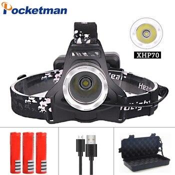 Potente linterna LED para cabeza XHP70 de 6500Lumen con Zoom recargable linterna para caza pesca linterna z20