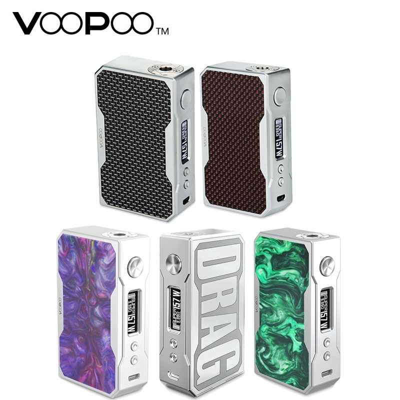 Original VOOPOO Drag Box Mod 157W TC Box Mod 157W By 18650 Battery Not Included & 0.05-3.0ohm Coil Electronic Cigarette Box Mod small cigarette box vending machine bjy b50 with light box