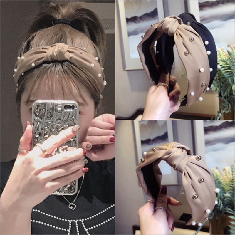 High-end hair accessories women's satin fabric beaded middle knotted wide-brimmed headband headband fashion hair band   headwear