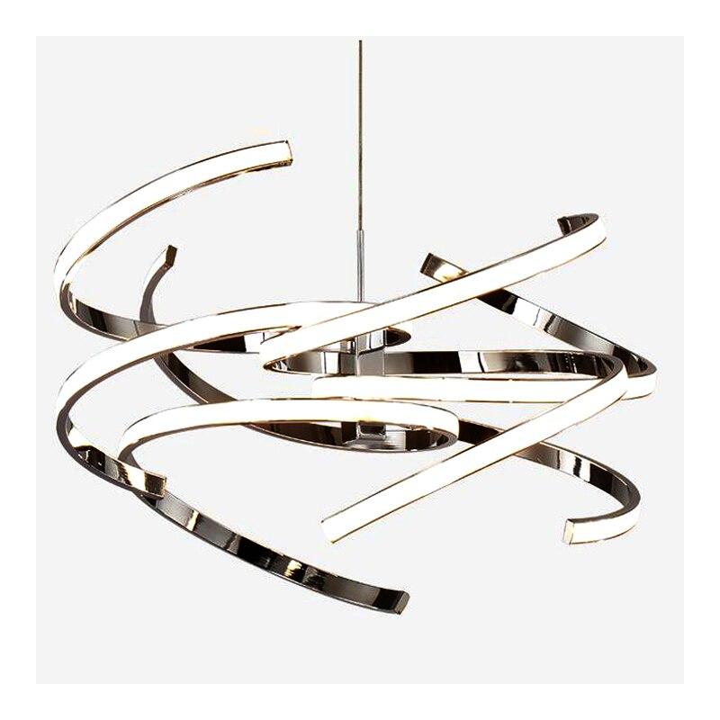 Новый Краткий Стиль светодиодный подвесной светильник Современные лампе Dia47 * 120 см домашнего освещения бар огни, белый Chrome подвесной светил