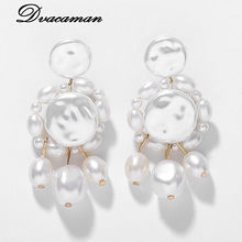 Dvacaman ZA 2019 Handmade White Simulated Pearl Drop Dangle Earrings for Women Trendy Big Pearl Earrings Party Wedding Jewelry(China)