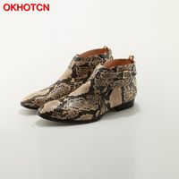 OKHOTCN New Embossed Python Leather Buckle Strap Men Ankle Boots Snakeskin Flat Heels Runways Cowboy Riding Boots Chelsea Boots