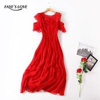 FAYE'S LOVE new spring/summer 100% real silk dress,high quality o neck ,sleeveless long silk dress,Q5Q081138