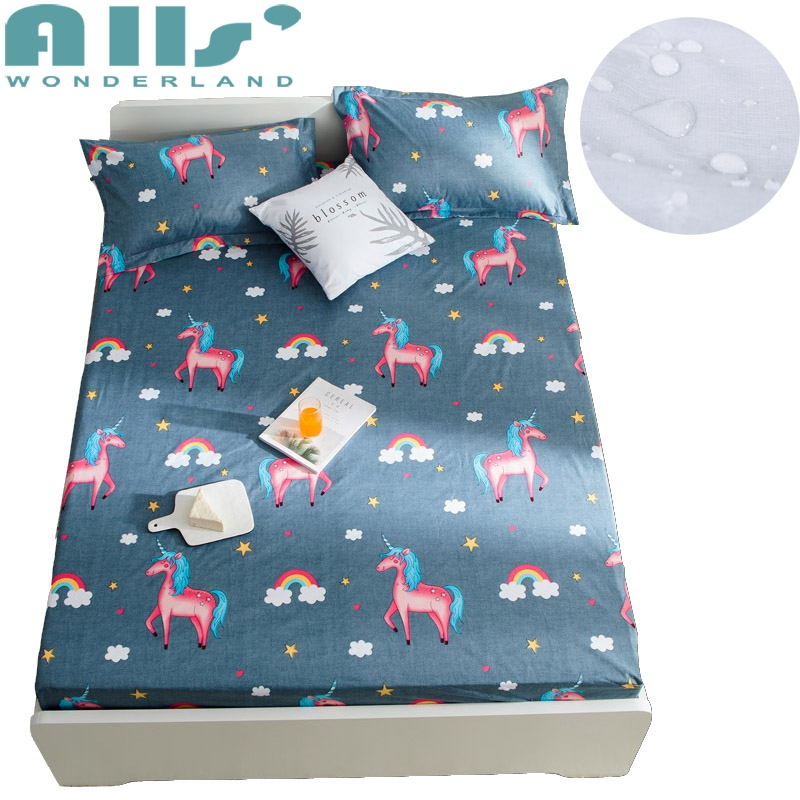 Unicorn Bedding Waterproof Mattress Cover Mattress Pad Protector Matress Cover for Bed Air-Permeable Mattress Fitted Sheet Cover