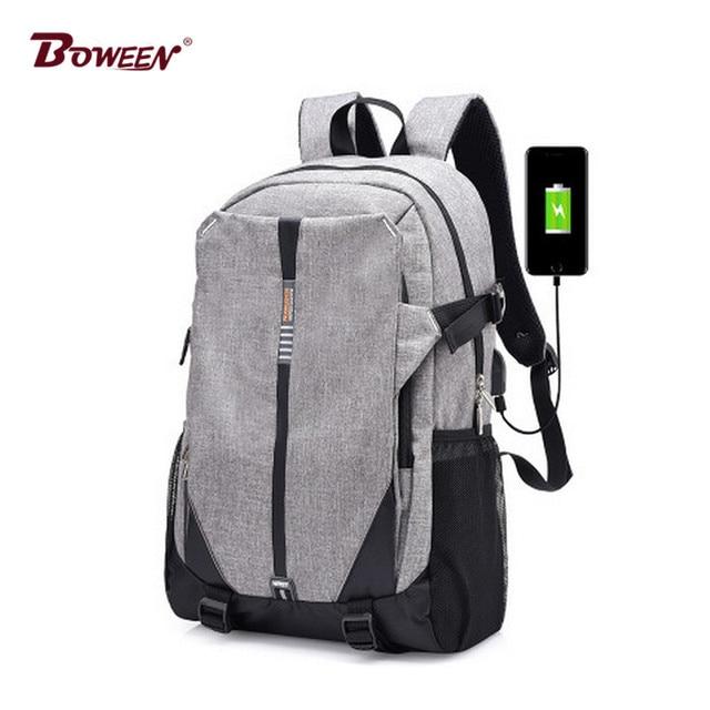 d44eb949acc3 Новый мода USB унисекс холст рюкзак мужской Большой Емкости рюкзак школьный  портфель для мальчиков портфель школьный