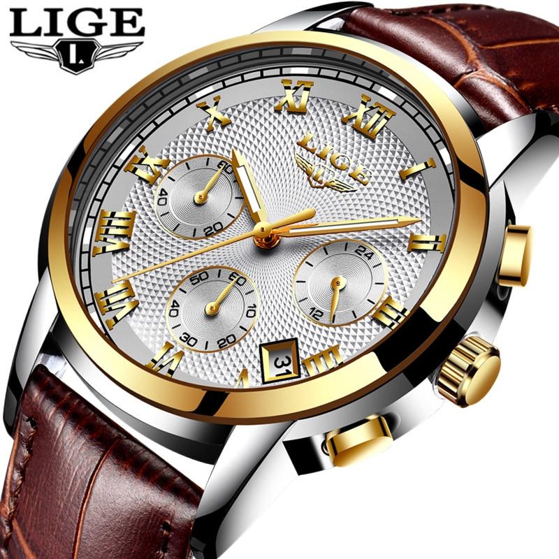 ad7ee27931c Relógio de Ouro dos Homens Negócios do Esporte Lige Moda Quartz Relógio de  Couro Homens Relógios Top Marca Luxo à Prova d  Água Masculino ...