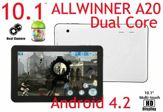 Vente en gros-10.1 pouces Allwinner A20 Dual Core 1.2 Android 4.2 1 GB RAM 8 GB ROM tablette PC écran tactile capacitif hdmi Wifi Webcam