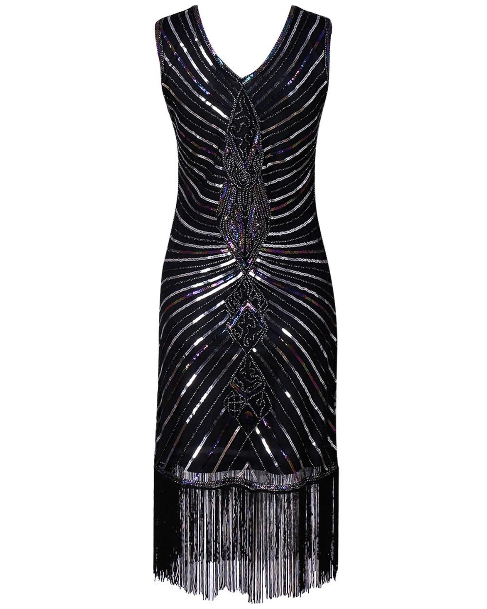 Women 1920s Diamond Sequined Embellished Fringed Great Gatsby Flapper Dress Sleeveless Retro Midi Party Dress Ukraine Vestidos